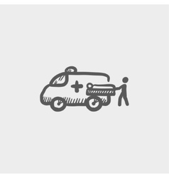 Man and ambulance car sketch icon vector image