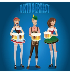Set people at oktoberfest vector