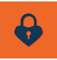 Lock heart icon vector