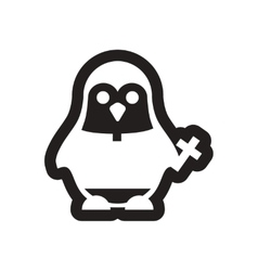 Style black and white icon penguin priest vector