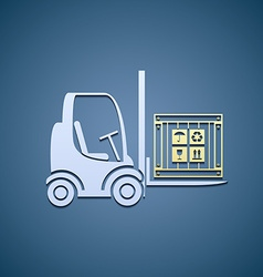 Forklifts with cargo box vector