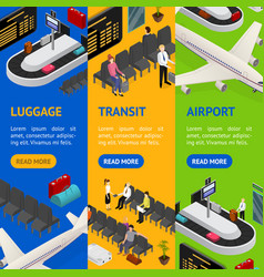 airport zone luggage transit banner vecrtical set vector image