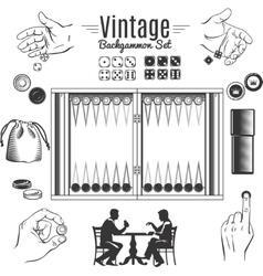 Backgammon vintage style elements set vector