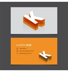 business card letter K vector image vector image