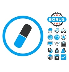 Capsule flat icon with bonus vector