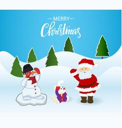 christmas card santa clausbunny and snowman vector image vector image