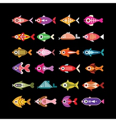 fish icons on black vector image