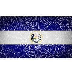 Flags el salvador with broken glass texture vector
