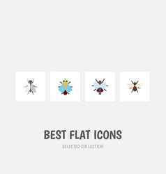 Flat icon buzz set of tiny bluebottle buzz and vector