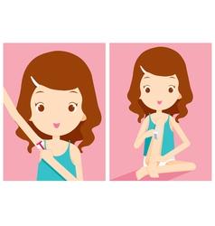 Girl shaving armpit and waxing leg vector