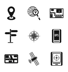Gps map icons set simple style vector
