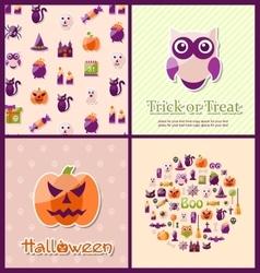 Halloween Postcards Set Banners vector image