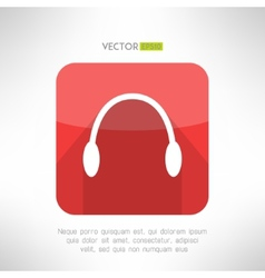 Headphones icon in modern flat design audio music vector