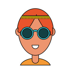 hippie man icon vector image