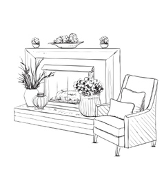 Home interior with armchair and fireplace vector image