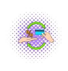 Interest on credit card icon comics style vector