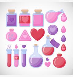 Love potion flat icon set vector