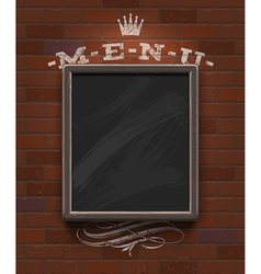 Menu chalkboard with wooden frame on brick wall vector image