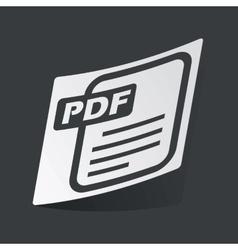 Monochrome pdf file sticker vector