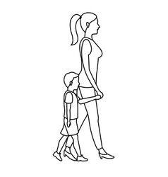 Mother and her son walking together outline vector