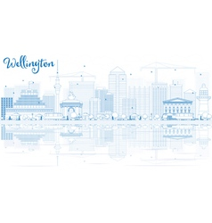 Outline wellington skyline with blue buildings vector