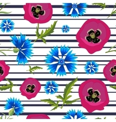 Pattern with PoppiesCornflowers and stripes-01 vector image