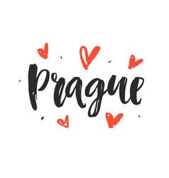 Prague modern hand written brush lettering vector