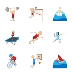 Professional sports icons set cartoon style vector