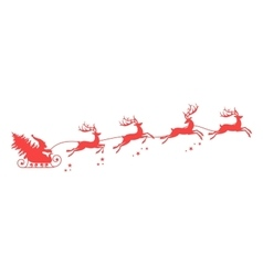 Santa Claus silhouette with reindeer vector image vector image