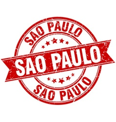 Sao paulo red round grunge vintage ribbon stamp vector