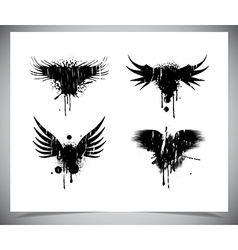 Set of black grunge wings vector image