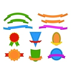 Set of colored stickers and ribbons for website vector