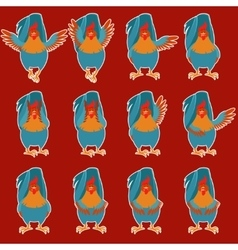 Set of rooster flat icons vector