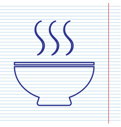 Soup sign navy line icon on notebook vector