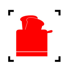 Toaster simple sign red icon inside black vector