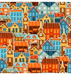 Town seamless pattern with cute colorful sticker vector image vector image