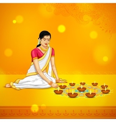 Woman burning diya for indian festival diwali vector