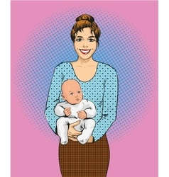 Woman holding a child in retro vector image vector image