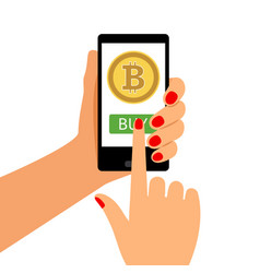Woman holding smartphone with bitcoin vector