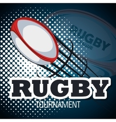 Rugby ball flying with bakcground blue design vector