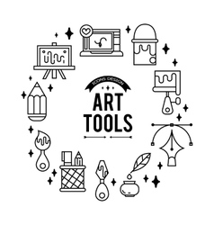 Art tools and materials for painting vector