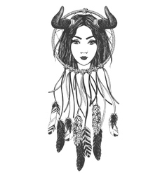 Woman with feathers and dreamcatcher vector image