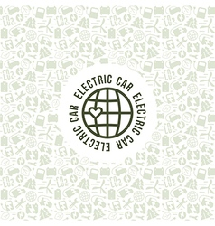 Electric car and ecology label vector