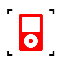 Portable music device  red icon inside vector