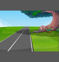 Empty road through the park vector