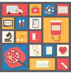 Medical icons set Ambulance and blood transfusion vector image