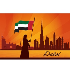 Dubai city skyline silhouette background vector