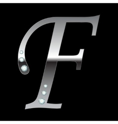 Silver metallic letter f vector