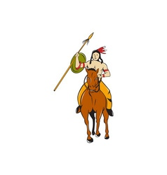 Native american indian brave riding pony cartoon vector