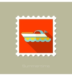 Ship boat flat stamp with long shadow vector